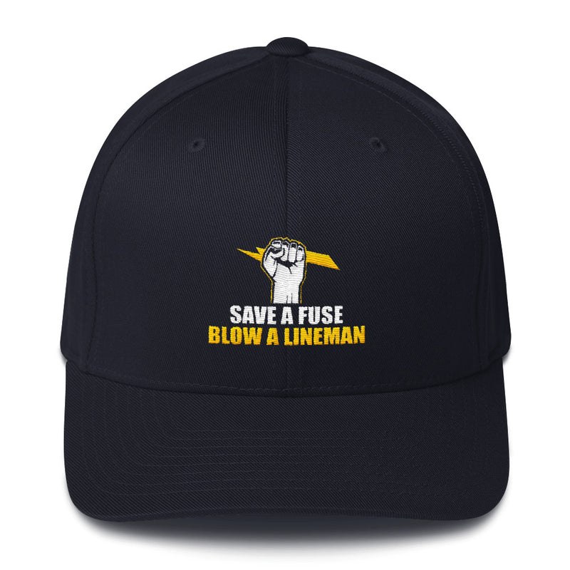 Save a Fuse Blow a Lineman Flexfit Hat Free Shipping