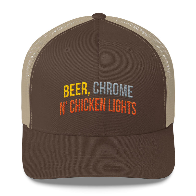 Beer, Chrome n' Chicken Lights Snapback Hat Free Shipping