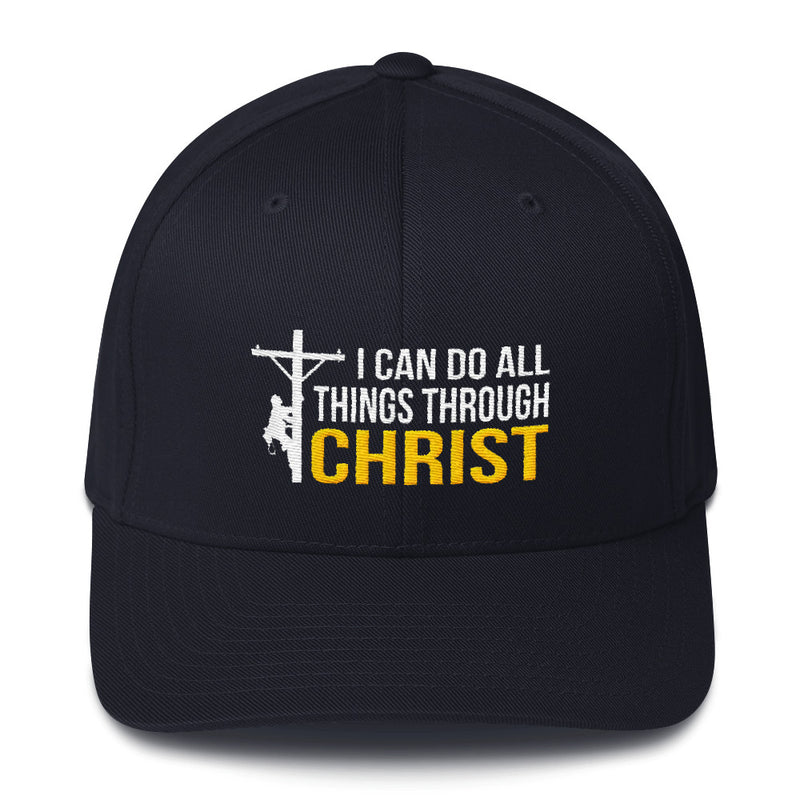 I Can Do All Things Through Christ Lineman Flexfit Hat Free Shipping