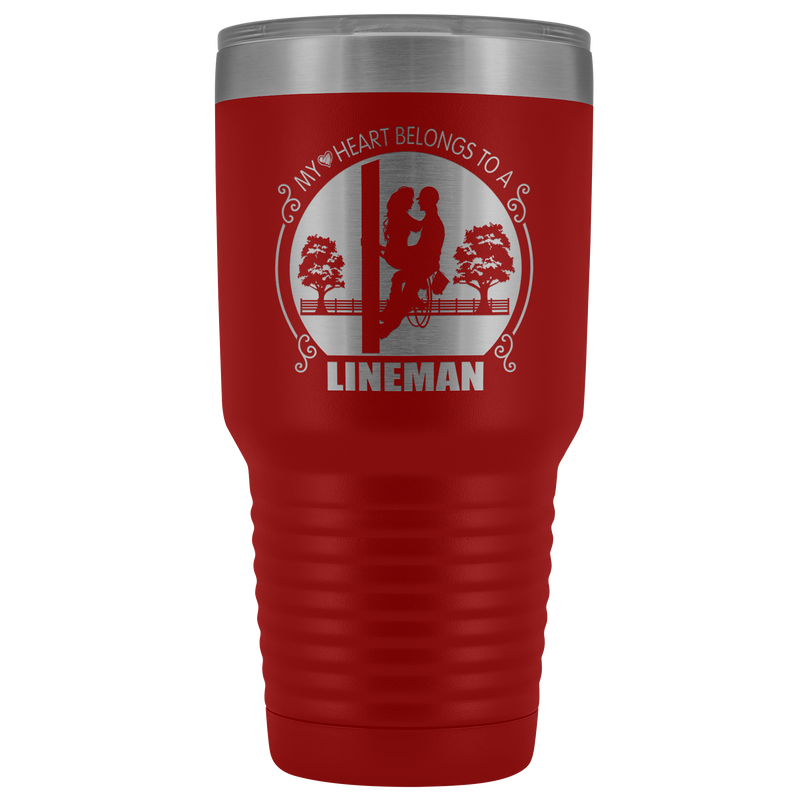 My Heart Belongs to a Lineman Sitting Tumbler Free Shipping