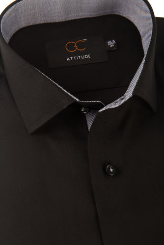 Attitude 5002- Plain Black with Contrast Collar