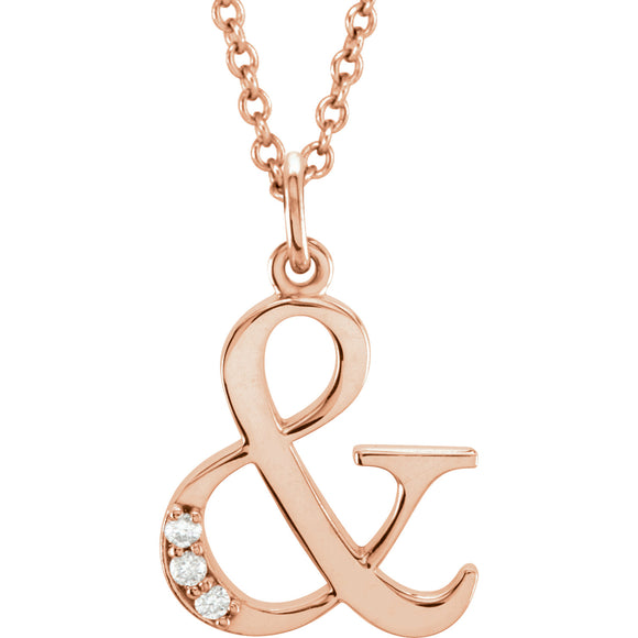 Lowercase Diamond Initial or Ampersand in 14K gold