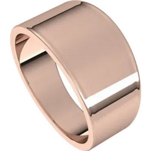 Flat Top 10mm Wide Tapered Band in 14K Rose Gold