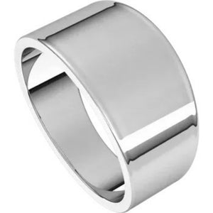 Flat Top 10mm Wide Tapered Band in 14K White Gold