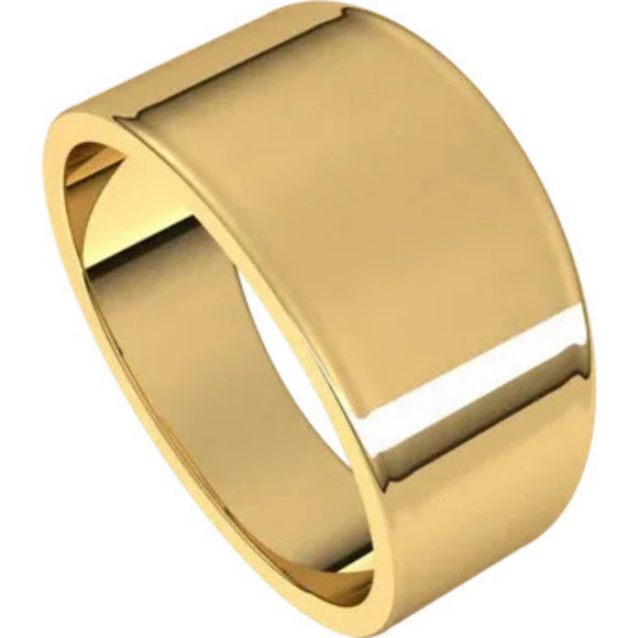 Flat Top 10mm Wide Tapered Band in 14K Yellow Gold
