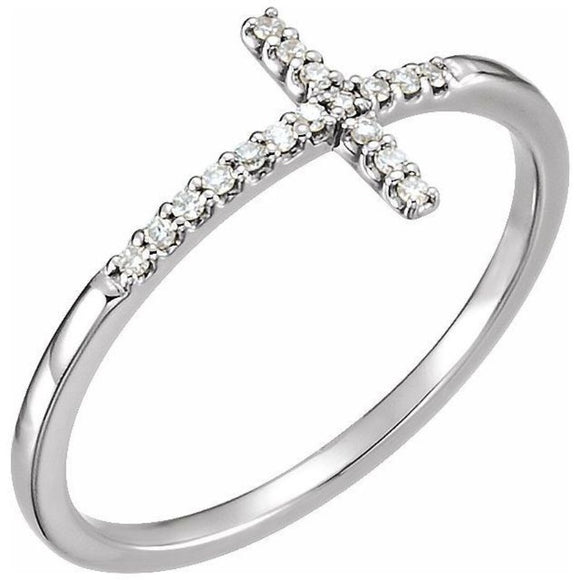 Sideways Cross Diamond Ring .08 Ct. in 14K Gold - Roxx Fine Jewelry