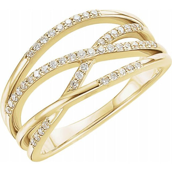 Criss Cross Diamond Highway Ring .21 Ct.  in 14K Gold - Roxx Fine Jewelry