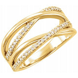 Double Criss Cross Diamond Highway Band in 14K Gold - Roxx Fine Jewelry