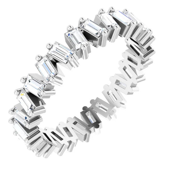 1.17 Ct. Gypsy Set Baguette Diamond Eternity Band in Platinum