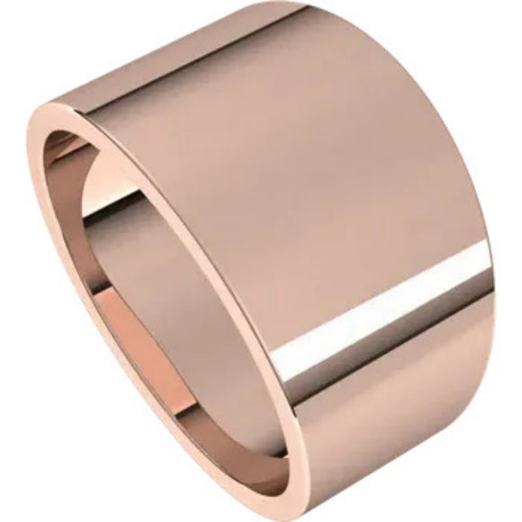 Flat Top 12mm Wide Tapered Band in 14K Rose Gold