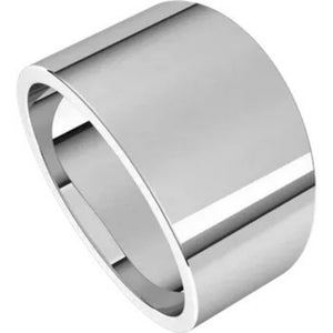 Flat Top 12mm Wide Tapered Band in 14K White Gold