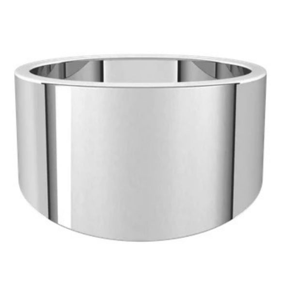 Flat Top 14mm Wide Tapered Band in 14K White Gold