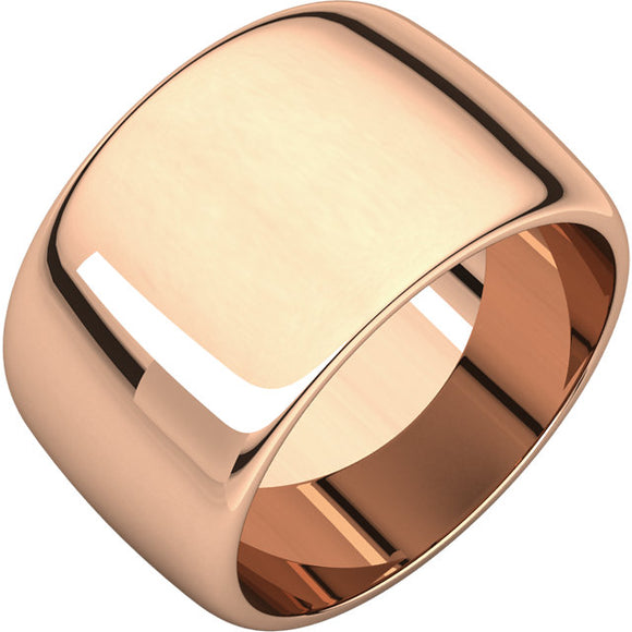 Dome Ring 12mm Half Round Barrel Style Band Sizes 10 - 15 in 10K Rose, White or Yellow Gold