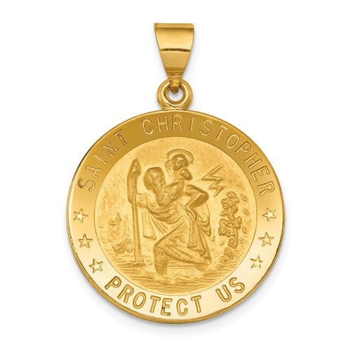 St. Christopher Round Medal in 18K Yellow Gold - Roxx Fine Jewelry