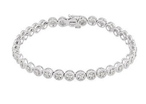 "Tennis Bracelet ""Roxy"" Bezel Set 1.02 ct in 14K Rose or White Gold - Roxx Fine Jewelry"