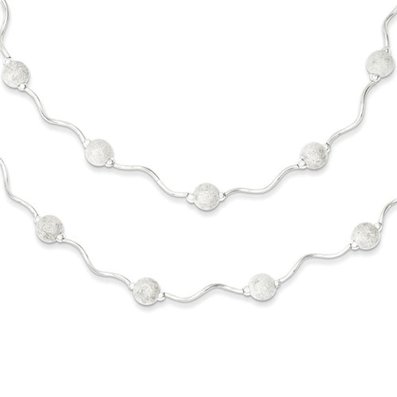 Lazer Cut Bead Double Layer Station Necklace in Sterling Silver - Roxx Fine Jewelry