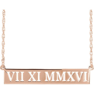 "Roman Numeral 18"" Necklace and Ring in 14K Gold - Roxx Fine Jewelry"