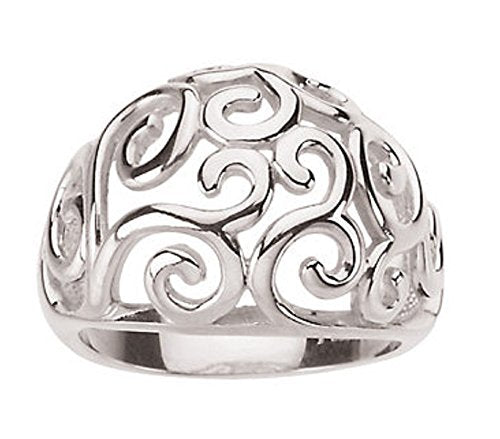 Scroll Design Dome Ring in .925 Sterling Silver - Roxx Fine Jewelry