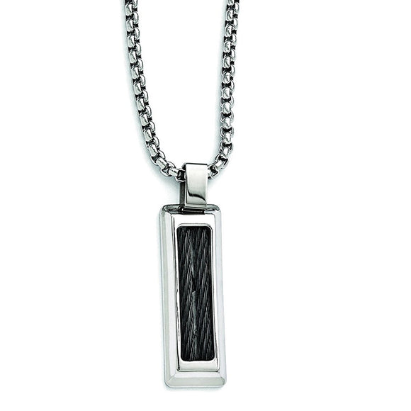 Edward Mirell Titanium & Stainless Steel Cable Pendant Necklace EMN135 - Roxx Fine Jewelry