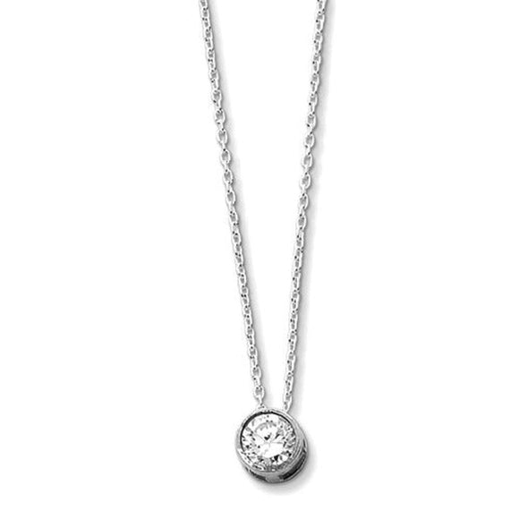 Bezel Set Solitaire Necklace 2 Ct CZ & Sterling Silver - Roxx Fine Jewelry