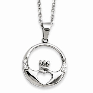 "Chisel® Stainless Steel Claddagh and CZ 20"" Necklace - Roxx Fine Jewelry"