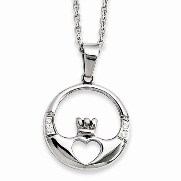 Chisel® Stainless Steel Claddagh and CZ 20