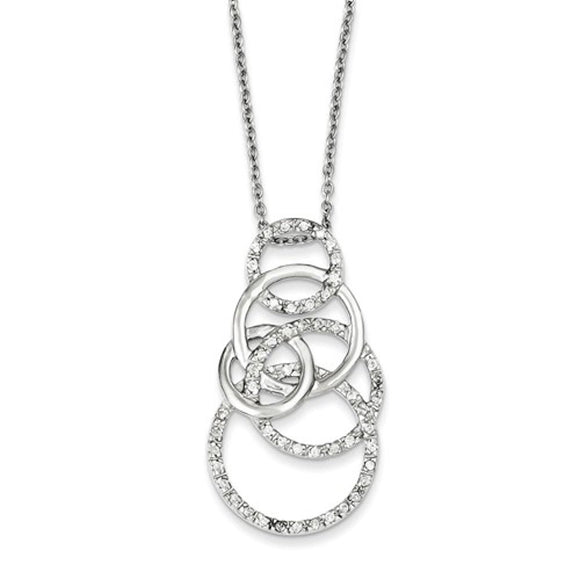 Contemporary Circles Sterling and CZ Necklace - Roxx Fine Jewelry