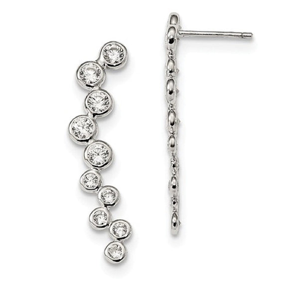 Ear Climber Earrings Sterling Silver and CZ Bezel Set - Roxx Fine Jewelry