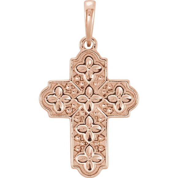 Ornate Floral Inspired Cross Pendant in 14K Rose, White or Yellow Gold - Roxx Fine Jewelry