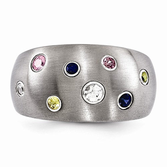 Edward Mirell® 12mm South Beach™ Collection Brushed Titanium and Sapphire Jewelry - Roxx Fine Jewelry