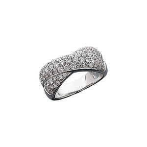 Criss Cross Triple Row Diamond Ring 1.50 Ct. in 14K White Gold - Roxx Fine Jewelry