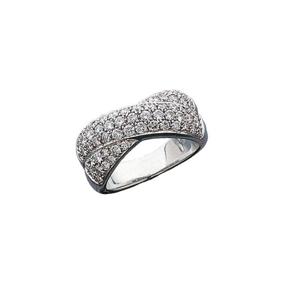 Criss Cross Triple Row Diamond Ring 1.50 Ct. in 14K White Gold