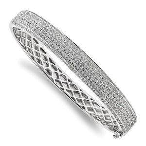"CZ and Sterling Silver 10 Carat ""Marlo"" Pave Hinged Bangle Bracelet - Roxx Fine Jewelry"