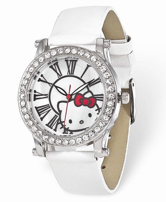 Hello Kitty® Crystal Bezel Watch with Roman Numerals in White or Black - Roxx Fine Jewelry