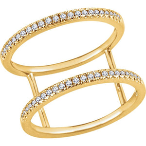 .20 Ct. Double Vision Two Row Negative Space Diamond Ring in 14K Gold - Roxx Fine Jewelry