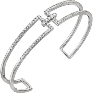 "Geometric Diamond Accented Rectangular Cuff Bracelet .75 Ct ""Adeline"" in 14K White Gold - Roxx Fine Jewelry"