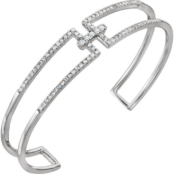 Geometric Diamond Accented Rectangular Cuff Bracelet .75 Ct