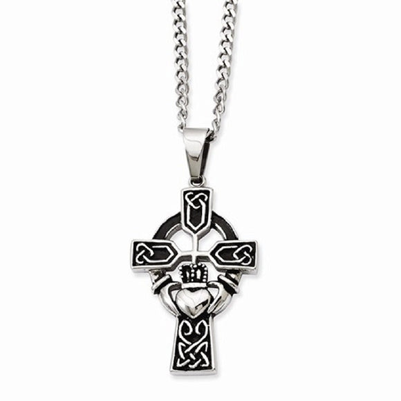 Chisel® Stainless Steel Antiqued Claddagh Cross Necklace - Roxx Fine Jewelry
