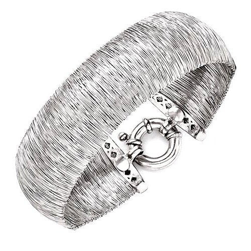 Leslie's™ Flexible Wire Wrapped Cuff Bracelet in Sterling Silver - Roxx Fine Jewelry