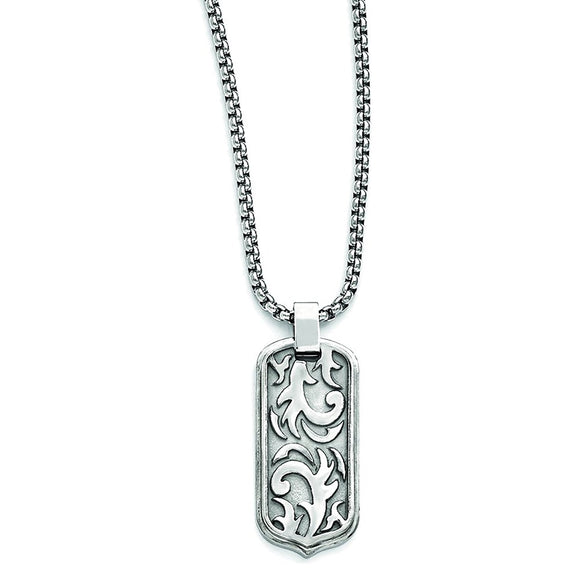 Edward Mirell® Pallas™ Collection Titanium Cable Dog Tag Necklace Black or Silver - Roxx Fine Jewelry