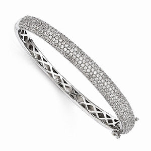 "CZ and Sterling 8 Carat ""Carly"" Hinged Bangle Bracelet - Roxx Fine Jewelry"