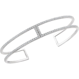 "Diamond Cuff Bracelet ""Milan"" .75 Carat Rectangular Geometric Bracelet in 14K White Gold - Roxx Fine Jewelry"