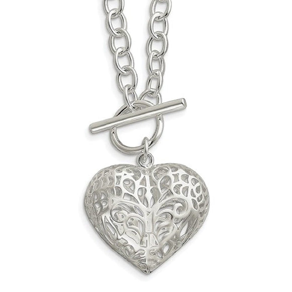 Contemporary Filigree Heart Toggle Necklace - Roxx Fine Jewelry