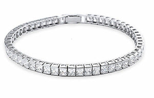 "Tennis Bracelet 12+ Ct ""Deirdre"" 7"" Sterling and 4mm Princess CZ's - Roxx Fine Jewelry"