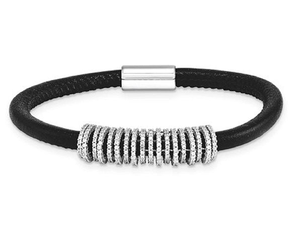 Diamonique™ Black Leather Infinity Rings Magnetic Bracelet - Roxx Fine Jewelry