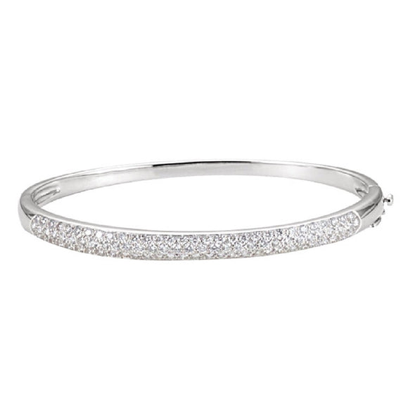 Diamond Bangle Bracelet 1.52 Ct. Pave set in 14K White Gold - Roxx Fine Jewelry