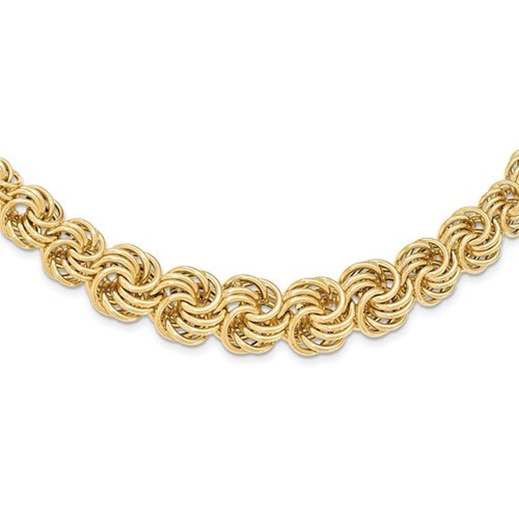 Woven Circles Graduated Necklace and Bracelet in 14K Yellow Gold - Roxx Fine Jewelry