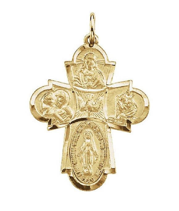 Gothic Four Way Cross Medal in 14K Yellow Gold - Roxx Fine Jewelry