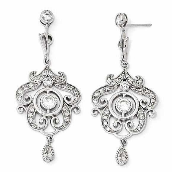 Cheryl M® Sterling and CZ Chandelier Necklace and Earrings - Roxx Fine Jewelry