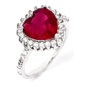 Heart Shaped Synthetic Ruby and CZ Halo Pendant and Ring by Cheryl M® - Roxx Fine Jewelry